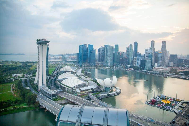 Sikt för fågelögon av Singapore stadshorisont i Singapore royaltyfri foto