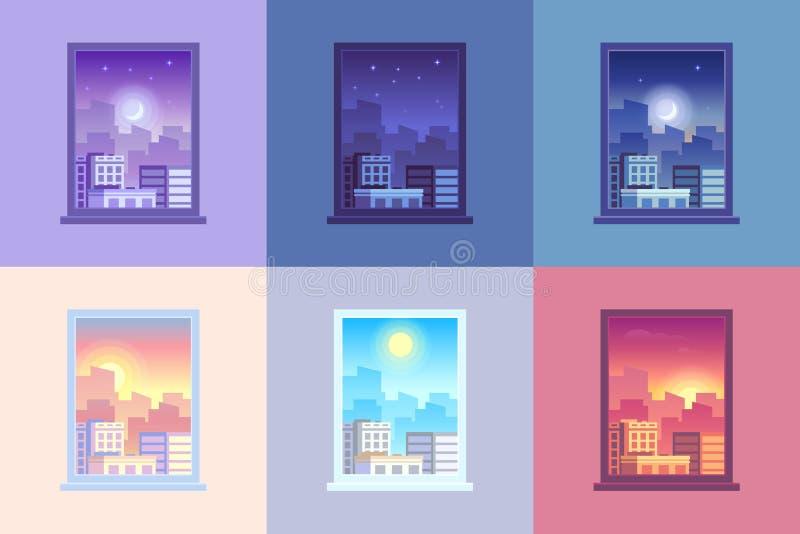 Sikt för fönsterdagtid Soluppgång och solen gryr morgonmiddag, och stjärnor för solnedgångskymning på staden inhyser dygnet runt  vektor illustrationer