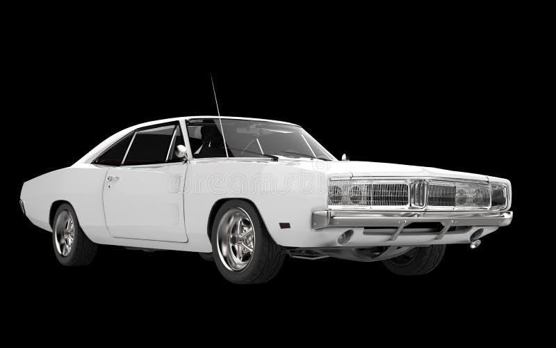 Sikt för främre sida för vit muskel bil- arkivbild