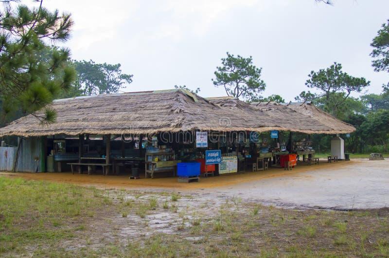 Sikt för gata för Phu kraduengmarknad i Thailand arkivbilder