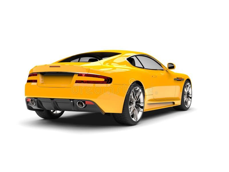 Sikt för gula moderna sportar för sol lyxig bil- bakre vektor illustrationer