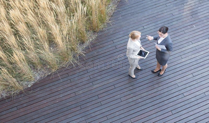 Sikt för hög vinkel av affärskvinnor som diskuterar, medan stå på golvtilja royaltyfri foto
