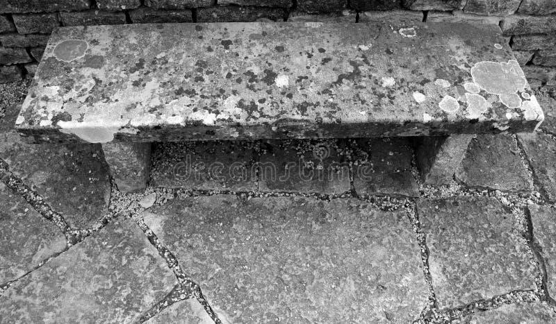 Sikt för hög vinkel av den fläckiga robusa stenbänken arkivbilder