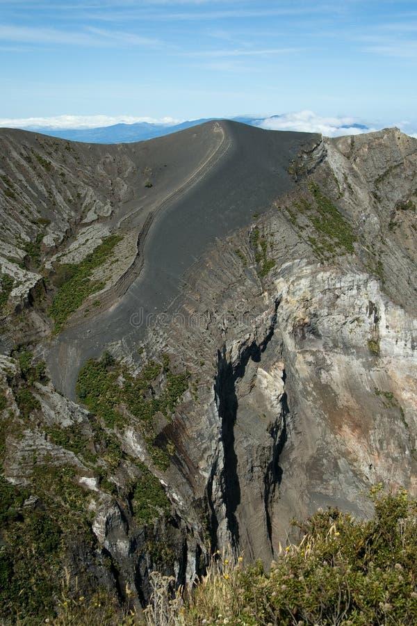 Sikt för hög vinkel av en vulkan, Irazu arkivbild