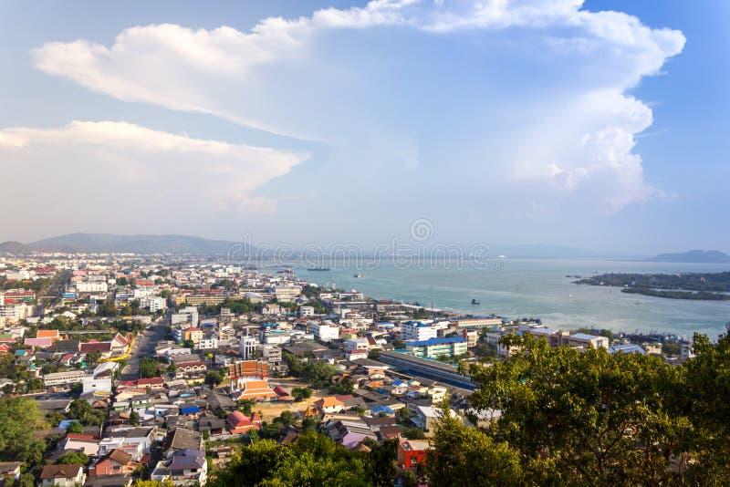Sikt för hög vinkel av havet på Songkhla, Thailand arkivfoto