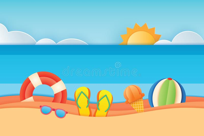 Sikt för hav för sommartid med utrustning som förläggas på stranden och himlen stock illustrationer