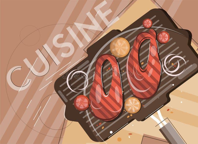 Sikt för illustration för laxgrillfest plan från över stock illustrationer