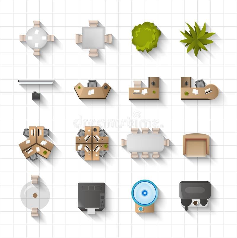Sikt för inre symboler för kontor bästa royaltyfri illustrationer