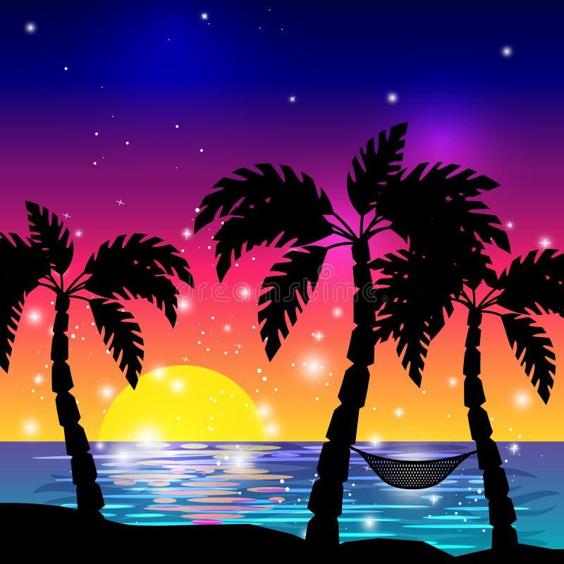 Sikt för karibiskt hav med palmträd stock illustrationer