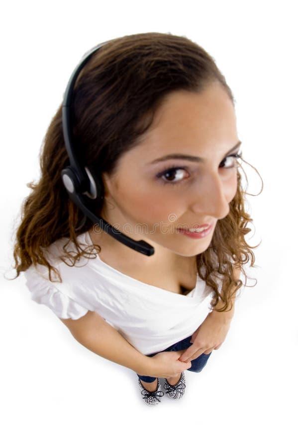 sikt för kvinnlig för vinkelfelanmälansmitt hög royaltyfri foto