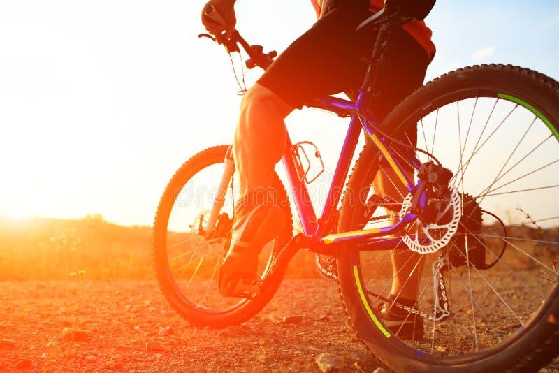 Sikt för låg vinkel av cyklistridningmountainbiket arkivbilder