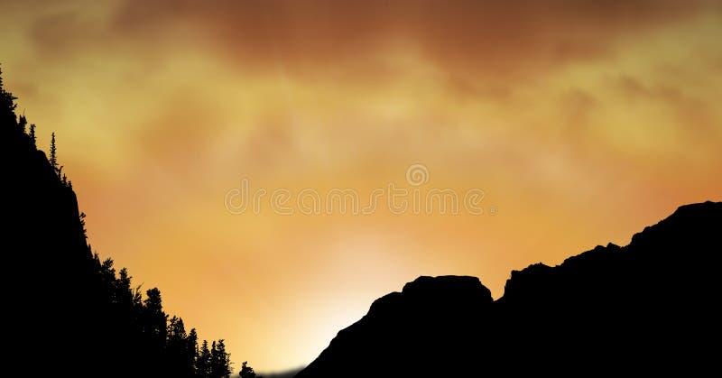 Sikt för låg vinkel av konturkullar mot orange himmel royaltyfria foton