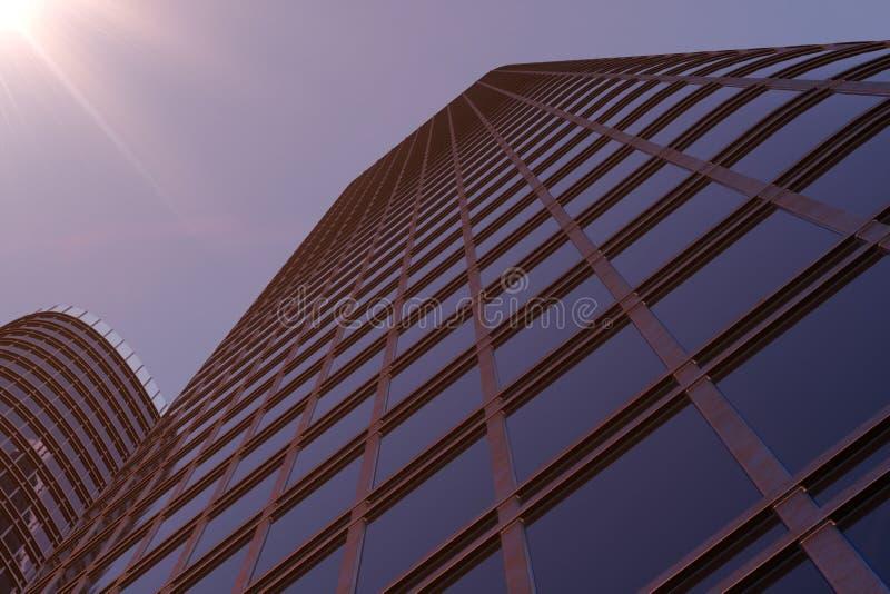sikt för låg vinkel för illustration 3D av skyskrapor Skyskrapor på solnedgången som upp ser perspektiv Nedersta sikt av skyskrap arkivfoto