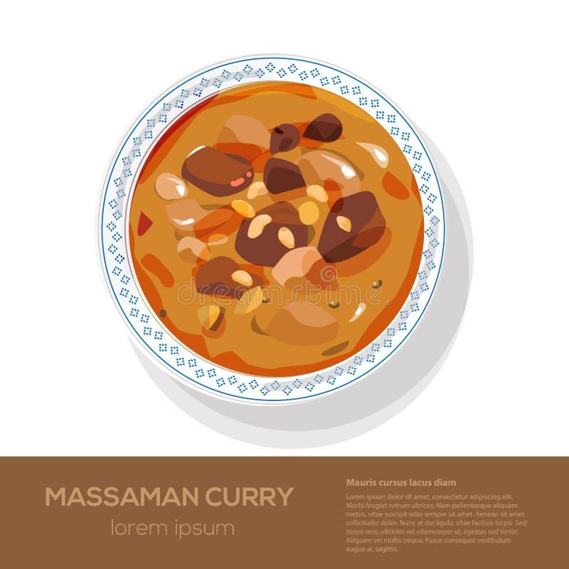 Sikt för Massaman curry överst - stock illustrationer
