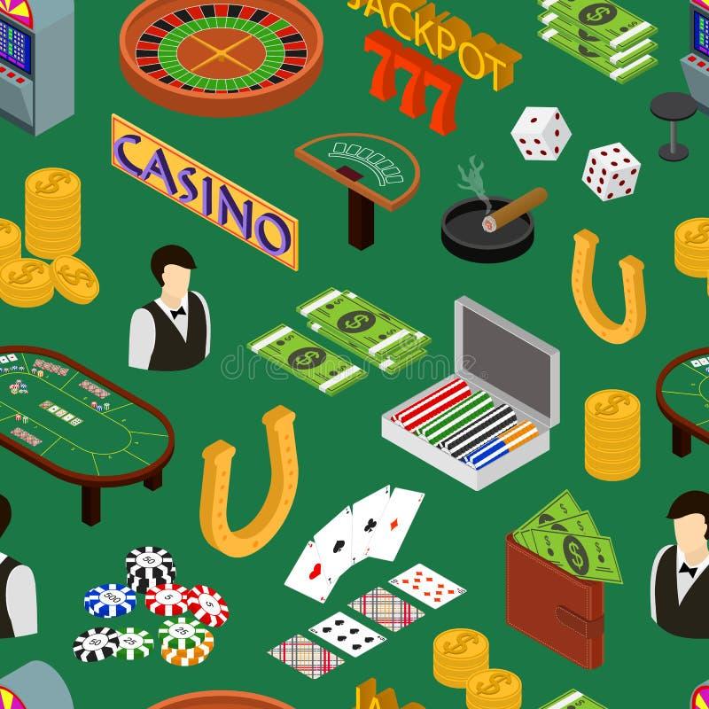 Sikt för modell för kasino- och dobblerilekbakgrund isometrisk vektor stock illustrationer