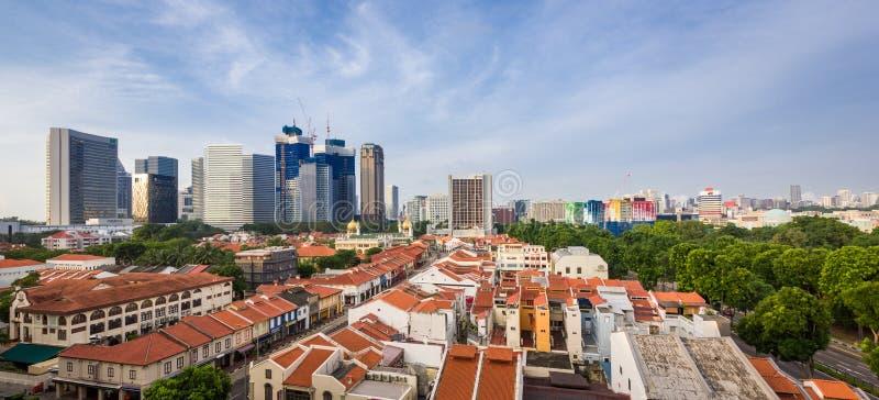 Sikt för morgonSingapore stad arkivfoton