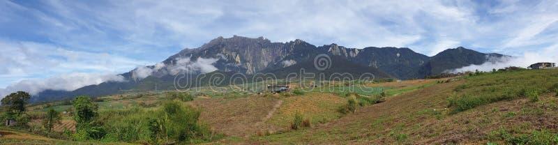 Sikt för Mount Kinabalu morgonpanorama, Kampung Mesilou, Kundasang, Sabah, Malaysia arkivfoto