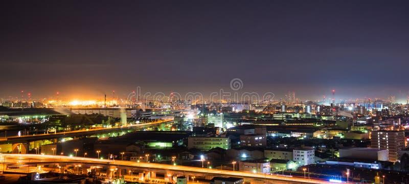 sikt för natt för stadsexponering lång royaltyfri foto