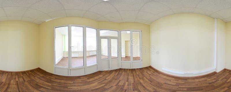 sikt för 360 panorama i den moderna tomma lägenhetinre, sömlös panorama för grader royaltyfria bilder