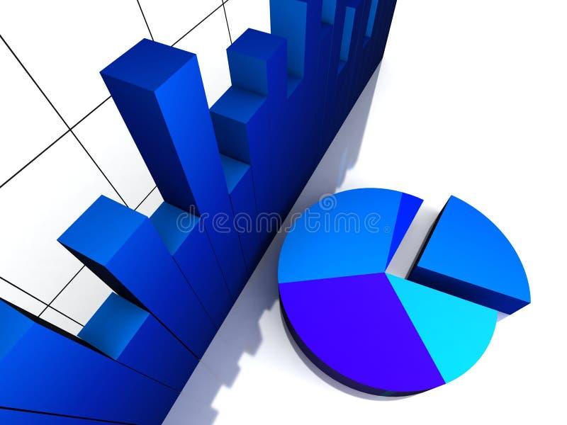 sikt för pie för graf för stångdiagram övre stock illustrationer