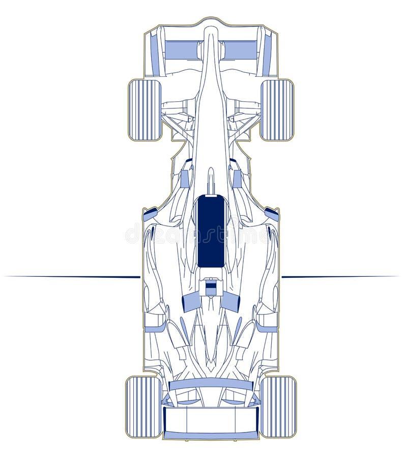 sikt för plan för bil f1 övre royaltyfri illustrationer