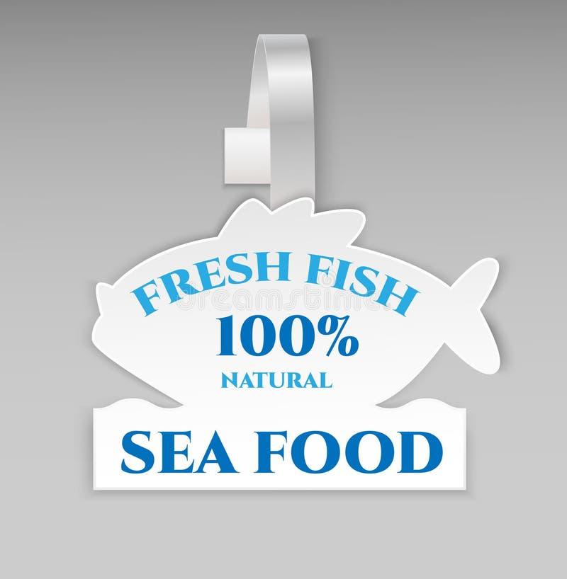 Sikt för plast- för advertizing för papper för vit fisk för vektormellanrumsform främre wobbler för pris Isolerat på bakgrund Ann royaltyfri illustrationer