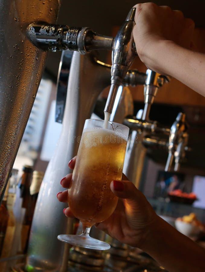 Sikt för sida för öl för tryck för servitrisportion kall arkivbilder