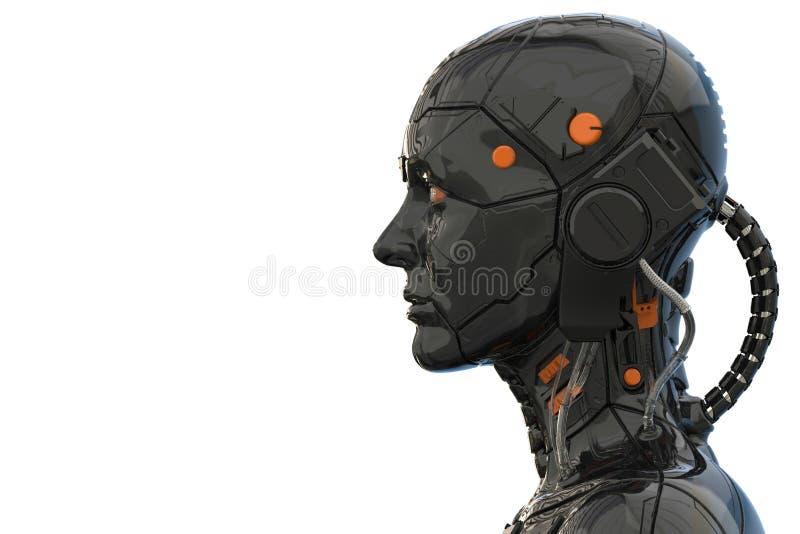 Sikt för sida för kvinna för Android robotcyborg humanoid - tolkning 3d stock illustrationer