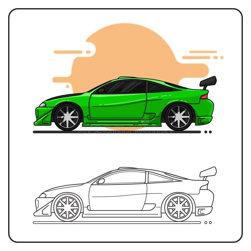 Sikt för sida för sportsupercargräsplan vektor illustrationer