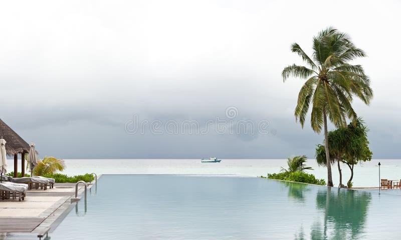 sikt för simning för semesterort för strandpanoramapöl royaltyfri bild
