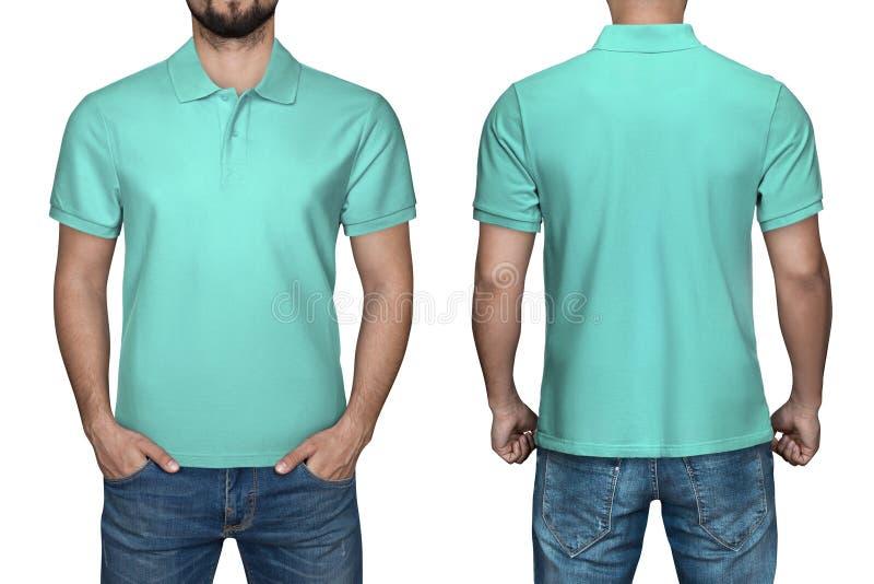 Sikt för skjorta för polo för manblankoturkos, framdel- och baksida, vit bakgrund Planlägg den poloskjortan, mallen och modellen  royaltyfria bilder