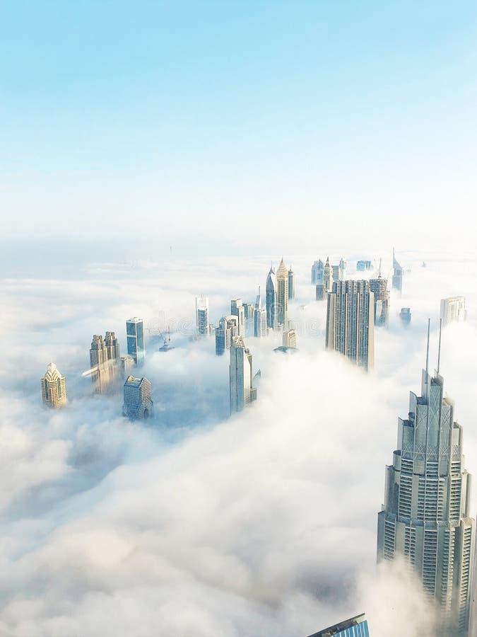 Sikt för solnedgång för Dubai horisont panorama- royaltyfri foto