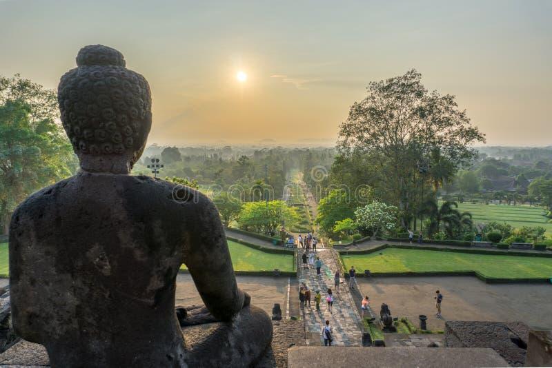 Sikt för soluppgång för Buddha` s arkivfoton