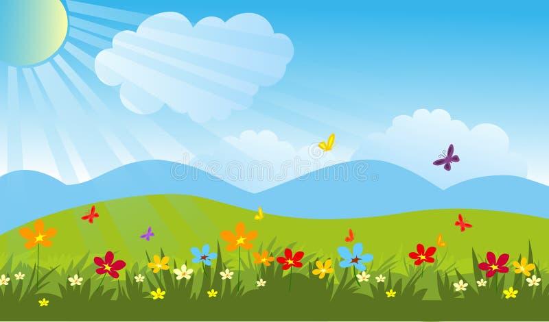 sikt för sommar för vinkelfältgräs wide Härlig trädgårds- vektormaterielbild vektor illustrationer