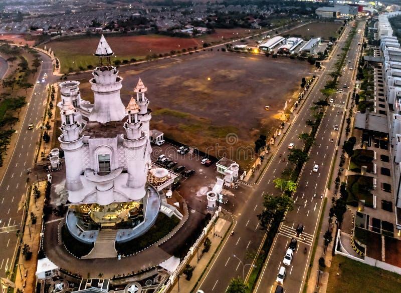 Sikt för stad för BSD Tangerang flyg-, Indonesien Juli 2018 fotografering för bildbyråer