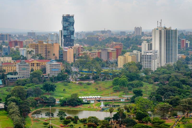 Sikt för stad för Nairobi horisontskyskrapor fotografering för bildbyråer
