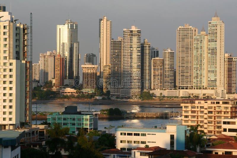 sikt för stadspanama horisont arkivfoto