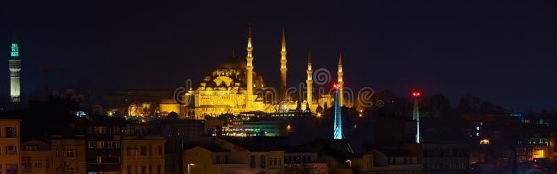 Sikt för Suleymaniye moskénatt, det störst i staden, Istanbul, Turkiet royaltyfria bilder