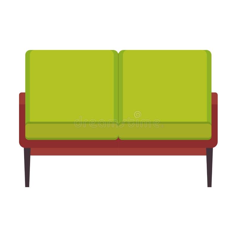 Sikt för symbol för soffamöblemangvektor främre Inre plan stil för hem- soffamoder Horisontalrektangel för kuddesoffavardagsrum stock illustrationer