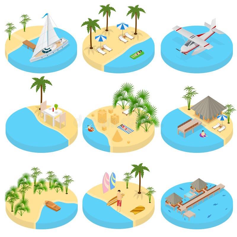Sikt för symboler 3d för strandsemesteruppsättning isometrisk vektor vektor illustrationer
