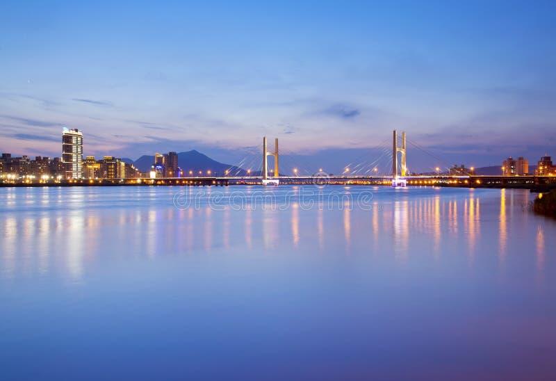 Sikt för Taipei stadsnatt royaltyfri fotografi