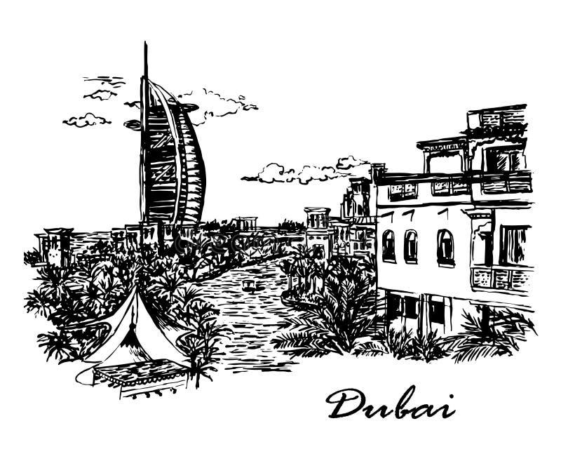 Sikt för teckningsbakgrundslandskap av den lyxiga sju-stjärna hotellparusen i mitten av Dubai, Förenade Arabemiraten, stock illustrationer