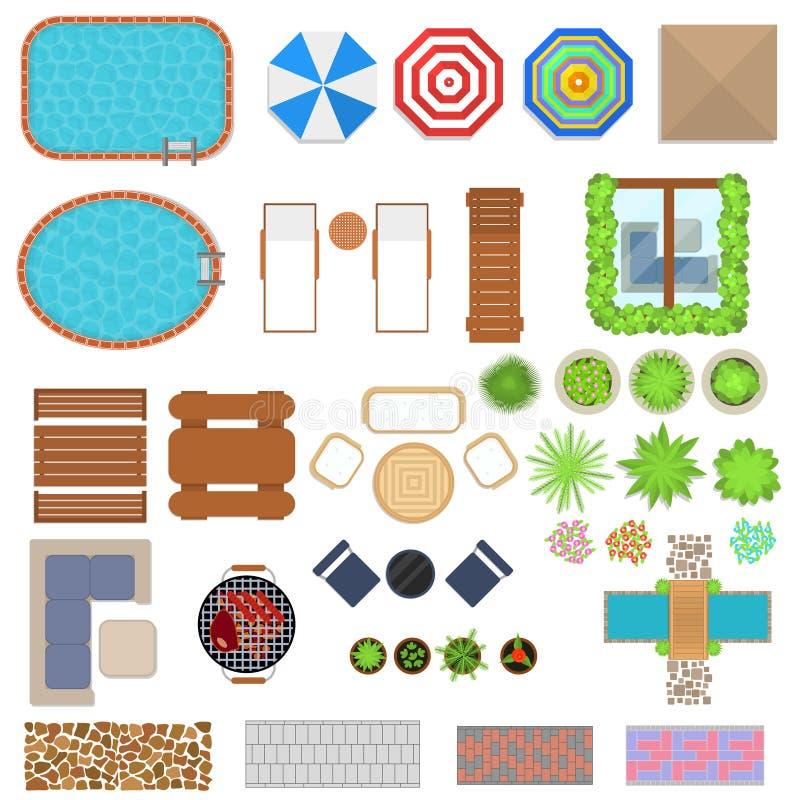 Sikt för uppsättning för beståndsdelar för tecknad filmlandskapdesign bästa vektor stock illustrationer