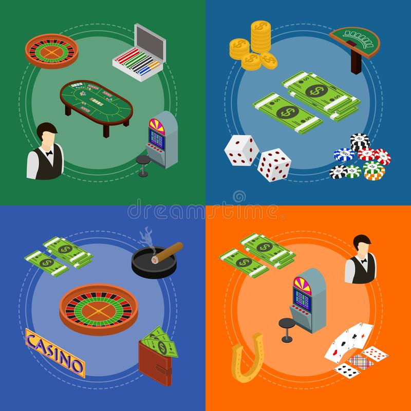 Sikt för uppsättning för kort för kasino- och dobblerilekbaner isometrisk vektor royaltyfri illustrationer