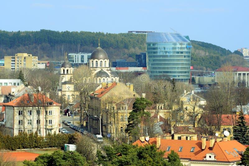 Sikt för vår för Vilnius stadsZverynas område flyg- royaltyfri bild