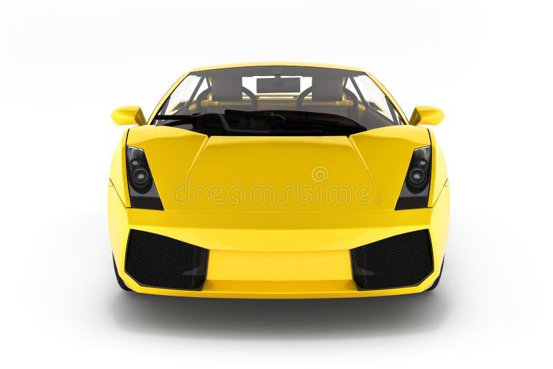 Sikt f?r medel f?r sportbil fr?mre p? vit bakgrund 3d royaltyfri illustrationer