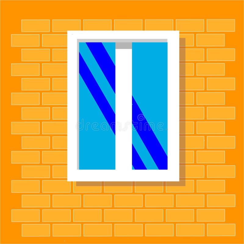 Sikt f?r f?nsterram som isoleras p? tegelstenhusv?ggen Detaljerat plast- fönster Utomhus- arkitekturdesign eller yttre sikt som b stock illustrationer