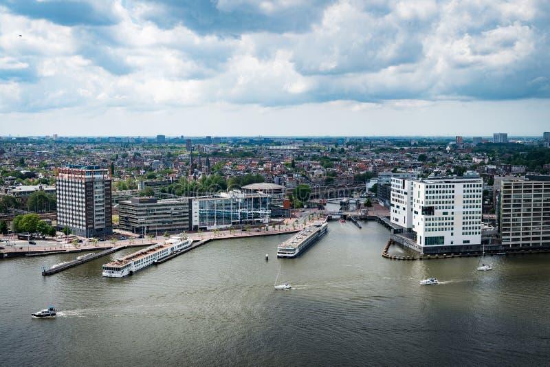 Sikt från Adam Lookout i Amsterdam royaltyfri bild