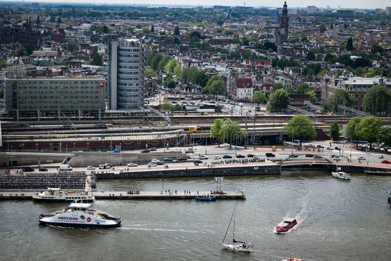 Sikt från Adam Lookout i Amsterdam arkivfoton