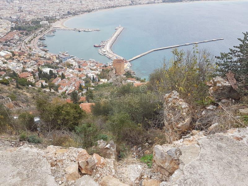 Sikt från Antalya port royaltyfri fotografi